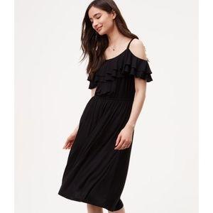 NWT LOFT ruffle cold shoulder black midi dress
